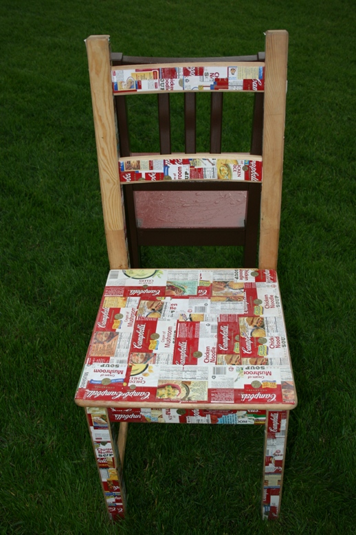 a chair covered in campbells' soup labels