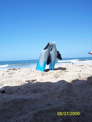 a set of surf fins stuck upright in the sand